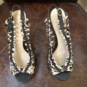 L.A.M.B  pony hair slingback heels pumps 8